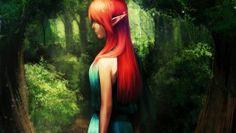 red hair animem girl uhd pink wallpaper