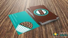Cartão de Visita - Brigadeiro Gourmet Bike Birthday Parties, Dirt Bike Birthday, Bakery Business Cards, Cake Business, Packaging Design, Branding Design, Logo Design, Graphic Design, Corporate Design