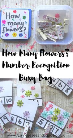 Help preschoolers recognise numbers and learn to count with this How Many Flowers? Number Recognition Peg and Flashcard Busy Bag, perfect for on the go, in the home or in the classroom.