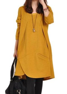 Yellow Long Sleeve Asymmetric Hem Shift Dress, shift dress for women, free shipping worldwide, check it out. Casual Dresses Plus Size, Casual Dresses For Women, Clothes For Women, Dress Casual, Mode Outfits, Fashion Outfits, Style Minimaliste, Loose Sweater, Mode Inspiration