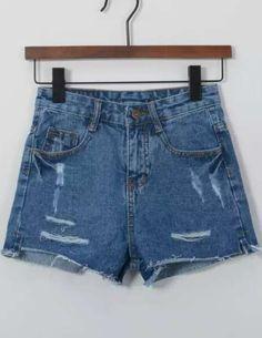 Blue High Waist Ripped Denim Shorts 14.00
