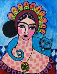 Mexican Folk Art - MEXICAN ART Frida Kahlo Art Print - Wedding Gifts. $24.00, via Etsy.