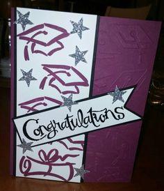 Graduation card with Sassy Salutations, Stampin Up, Darice graduation embossing folder