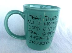 """Doctor Who """"Good cup of tea"""" Tenth Doctor hand painted quote mug with TARDIS - Large turquoise mug"""