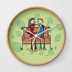Life and living Wall Clock#funny #artwork #drawing #art #thesbirù #comic #cartoon #puppet #society6 #society6art #artprint #mug #tshirt #duvet #pillow #shopart #children #joy #child #fun, #humor #happiness #childhood #smile #kid #illustration