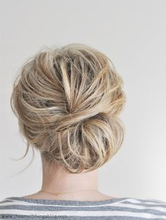 Low chignon tutorial.