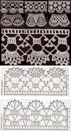 How to crochet a flower . How to crochet a flower with caterpillar petals. Filet Crochet, Crochet Cord, Crochet Lace Edging, Crochet Motifs, Crochet Borders, Crochet Diagram, Crochet Stitches Patterns, Lace Patterns, Thread Crochet