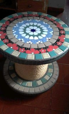 Mosaic Art, Poker Table, Diy And Crafts, Mosaic Tables, Clay, Macrame, Furniture, Home Decor, Spool Tables