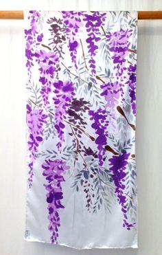 Hand Painted Silk Shawl Purple Floral Scarf by SilkScarvesTakuyo