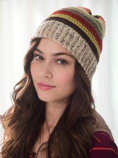 Earthy Crocheted Hat free pattern form lion brand  - one main color + vanna's palette or scrap  yarn