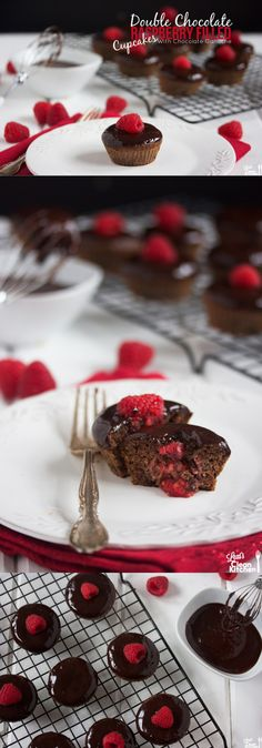Double Chocolate Raspberry Filled Cupcakes with Chocolate Ganache {Gluten-Free, Dairy-Free, Paleo, and under 150 calories!} - Might try making these for Jess. Gluten Free Cupcakes, Baking Cupcakes, Gluten Free Desserts, Cupcake Cakes, Raspberry Filled Cupcakes, Raspberry Filling, Raspberry Ganache, Yummy Treats, Delicious Desserts