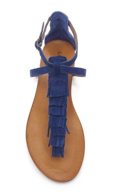 Navy blue suede fringe flat sandal by Lucky Brand