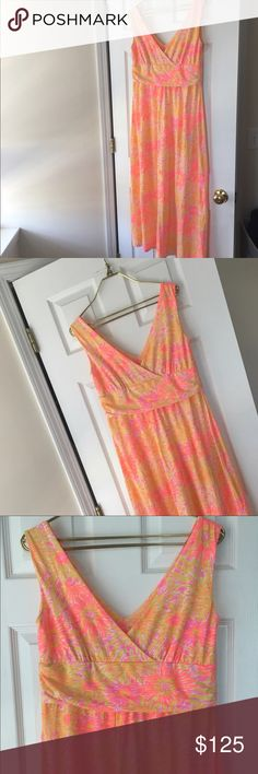 Lilly Pulitzer maxi dress- like new! Lilly Pulitzer Sloane V neck maxi dress, like new in Sunkissed, perfect for a casual summer day or dressing up for lunch. Fast Shipping! Very Hard to Find- 96% Rayon 4% Spandex.   51 inches long, Waist-35 Hip- 45.5 Bust- 38 , I am a DDD and do not fit this top! Lilly Pulitzer Dresses Maxi