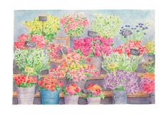 This is a beautiful signed archival print based on one of my original watercolor paintings. This is an image from a painting I did of the Parisian 'Marché aux fleurs' on Île de la Cité. This particula