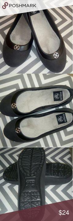 NEW Black Crocs Flats Size 7 NEW Women's Black Crocs Flats Velour Cushion Insoles Size 7 CROCS Shoes Flats & Loafers