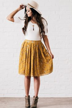Modest Perfect for Fall Mustard A line Skirt - MFS6107