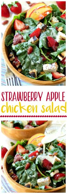 This quick and tasty favorite Strawberry Apple Chicken Salad is filled with plump juicy strawberries, sweet apple slices, crunchy almonds and topped off with the most wonderful poppy seed dressing you've ever tasted!