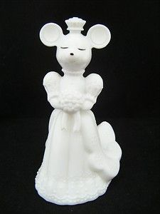 Rare Vintage Avon First Flowers Perfume Wedding Bride Mouse & White Glass Bottle