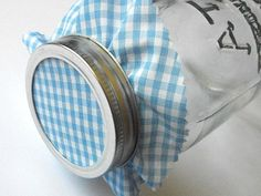 12 Blue Gingham Jam Covers, Cloth Toppers, fabric for mason jars, food preservation, wedding favors