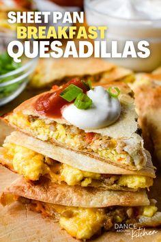 Eggs, melty cheese and meat fill these Sheet Pan Breakfast Quesadillas which makes for the most crave-able breakfast that's sure to get you (and the kids!) outta bed! #Ad #Weggsday #Quesadillas #BreakfastIdeas @iowaegg @incredibleeggs Protein Packed Breakfast, Savory Breakfast, Breakfast Bake, Best Breakfast, Breakfast Ideas, Breakfast Dishes, Breakfast Quesadilla, Quesadilla Recipes, Easy To Make Breakfast