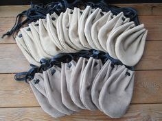 Medieval Leather Pouches, Renaissance Drawstring Bags