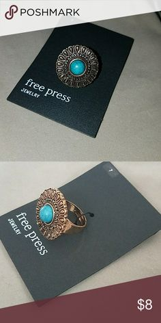 ❣Free Press Turquoise Stone Ring❣ Turqouise/ Gold Size 7 Free Press Jewelry Rings