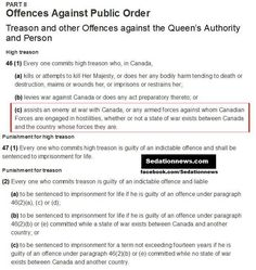 Treason in Canada  Canadian charter of rights and freedoms sedationnews.com