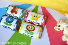 Super Mario Brothers Birthday Party ❥❥❥~Instead of the big candy bars .,mini