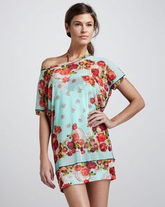 Jean Paul Gaultier Floral-Print Coverup Tunic Jean Paul Gaultier