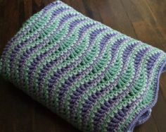 Wave Afghan in Green and Purple - Crochet Throw Blanket FOR SALE