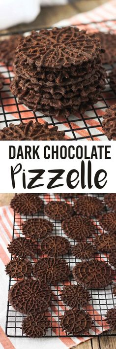 Dark chocolate pizzelle - a fun take on traditional Italian wafer cookies. They're great holiday cookies or easy to turn into cannoli shells or sandwich cookies. mysequinedlife.com Pizzelle Cookies, Wafer Cookies, Yummy Cookies, Holiday Cookies, Cupcake Cookies, Cookies Et Biscuits, Almond Cookies, Pizzelle Maker, Italian Recipes