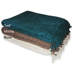 @Overstock.com - Cuddle up anywhere with this cozy chenille throw. Available in bone, teal, or mocha, this soft, elegant chenille throw is a perfect accent for any room. Constructed of 100 percent acrylic, the Herringbone throw measures 50 inches x 60 inches.http://www.overstock.com/Bedding-Bath/Herringbone-Chenille-Throw/5066863/product.html?CID=214117 $37.99