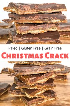 This Paleo Christmas Crack is a grain free, gluten free, and dairy free version of your favorite addicting sweet & salty holiday treat! # Easy Recipes gluten free Paleo Christmas Crack - grain free and gluten free Paleo Dessert, Dessert Sans Gluten, Bon Dessert, Paleo Sweets, Healthy Dessert Recipes, Gluten Free Desserts, Paleo Recipes, Cooking Recipes, Paleo Food