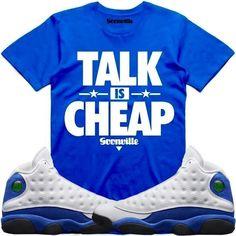 8b751bd8f Jordan 13 Hyper Royal Sneaker Tee Shirt to match made by Dapper Goons  Clothing. Shirt