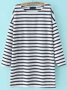 Shop Dropped Shoulder Seam Striped Tshirt Dress online. SheIn offers Dropped Shoulder Seam Striped Tshirt Dress & more to fit your fashionable needs.