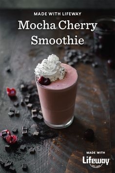 Livin' la vida mocha! Because what's life if it's not a little wild and crazy? Healthy Food Choices, Healthy Recipes, Cherry Smoothie, Farmers Cheese, Chocolate Protein Powder, Coconut Whipped Cream, Vitamin K, Chocolate Cherry, Kefir