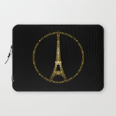 Eiffel Tower gold sparkles peace symbol Laptop Sleeve #PLdesign #PrayforParis #GoldSparkles #SparklesGift