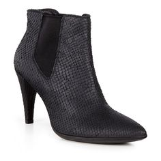 ECCO Shape 75 Pointy: The classic ladies Chelsea boot gets a decidedly rock-and-roll makeover, with this high-heeled version. Supple leather lets the foot move naturally for all-day wearabiltiy, while the snakeskin finish puts this edgy boot firmly at the top of the style pile.