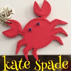 "Kate spade crabby keyring Red leather and blue jewel eyes. This happy little crab has a shiny silver chain with spade decoration and ring to grab onto your keys. 6"" from ring to end. 3.25"" width. BNWTprice firm.. With Posh 20% I'm already losing money and this is a great little keychain. kate spade Accessories Key & Card Holders"
