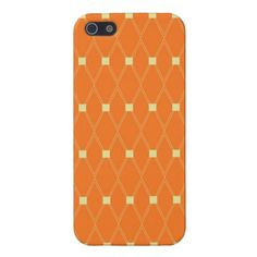 Orange and Cream Diamonds Square Argyle Pattern Covers For iPhone 5