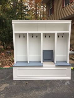 *bench w individual lift up seats. Great storage idea for garage or mudroom.* Mudroom locker 18 available in white with stained Khona bench or painted grey bench. Storage under seating with individual compartments under seating solid structure Mudroom Laundry Room, Bench Mudroom, Entryway Bench Storage, Mudroom Storage Ideas, Mud Room Lockers, Entry Way Lockers, Mudroom Cubbies, Bench With Storage, Shoe Storage