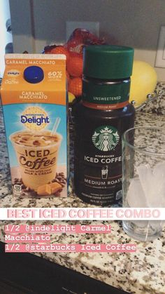 coffee addict Fill up half your cup with delights Carmel macchiato flavored iced coffee amp; the other half Starbucks iced coffee! Give a stir and sip sip hooray Healthy Starbucks Drinks, Iced Coffee Drinks, Starbucks Recipes, Starbucks Iced Coffee, Coffee Recipes, Yummy Drinks, Healthy Drinks, Starbucks Hacks, Nutrition Drinks