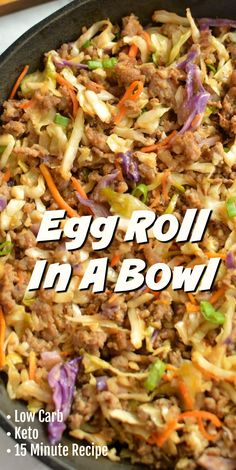 This Low Carb Egg Roll In A Bowl is a delicious was to stay on track with a low carb diet! This egg roll in a bowl recipe has that classic egg roll flavor everyone loves neatly served in a bowl! This Low Carb Egg Roll In A Bowl is a delicious … Egg Roll Recipes, Paleo Recipes, Asian Recipes, Low Carb Recipes, Paleo Food, Recipe For Egg Roll In A Bowl, Healthy Cabbage Recipes, Recipes With Cabbage, Cheap Recipes