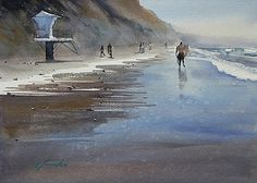 San Diego 100 (#29) - Torrey Pines State Beach by Keiko Tanabe Watercolor ~ 8 1/4 x 11 1/2 inches (21 x 29 cm)