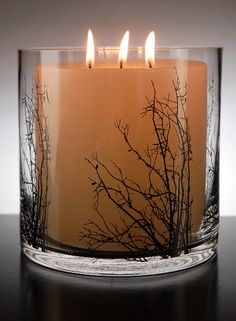 Birch Tree Branch Silhouette   6x6 Glass Cylinder Vase or Candleholder  $9 each