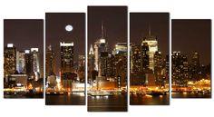 #Cuadro La ciudad que nunca duerme http://www.cuadrosyespejosmodernos.com/producto/cuadro-new-york-ref-8-150x80cm/
