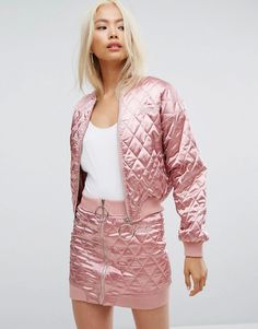 Missguided Barbie Quilted Bomber Jacket - Pink