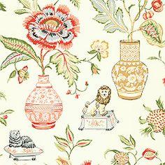 "living room Thibaut Fairfax - Marrakesh - Wallpaper - Cream  Color Schemes – 6 Match – Half Drop Vertical Repeat –36"" Width – 27"""