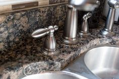Want to remove those stubborn hard water stains from your granite counter tops? Our simple tutorial gets the job done without using any harsh chemicals. #simply2moms #granite #hardwaterstains #cleaningtips #hardwater #mineraldeposits #granite Hard Water Spots, Hard Water Stains, Diy Interior Shutters, Chandelier Makeover, Side Table Makeover, Easy Fall Wreaths, Diy Pumpkin, Marble Countertops, Cleaning Hacks