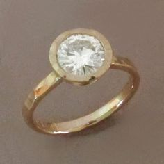 Moissanite Engagement Ring in 14k Yellow Gold - Hand Hammered - by esdesigns